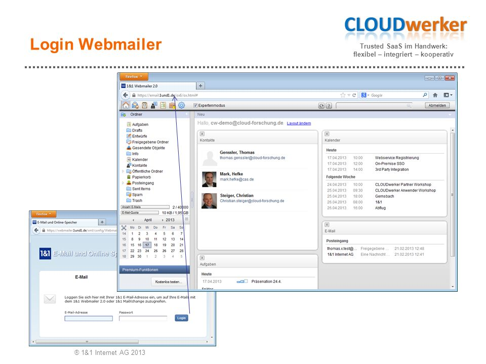 Trusted SaaS im Handwerk: flexibel – integriert – kooperativ Login Webmailer ® 1&1 Internet AG 2013