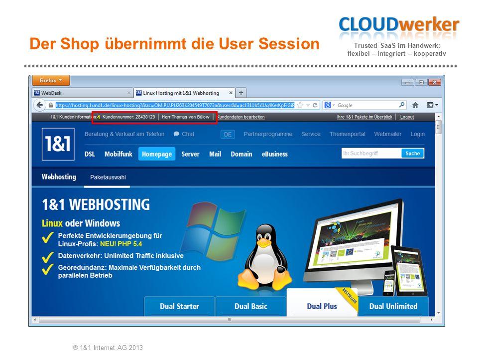 Trusted SaaS im Handwerk: flexibel – integriert – kooperativ Der Shop übernimmt die User Session ® 1&1 Internet AG 2013 4.