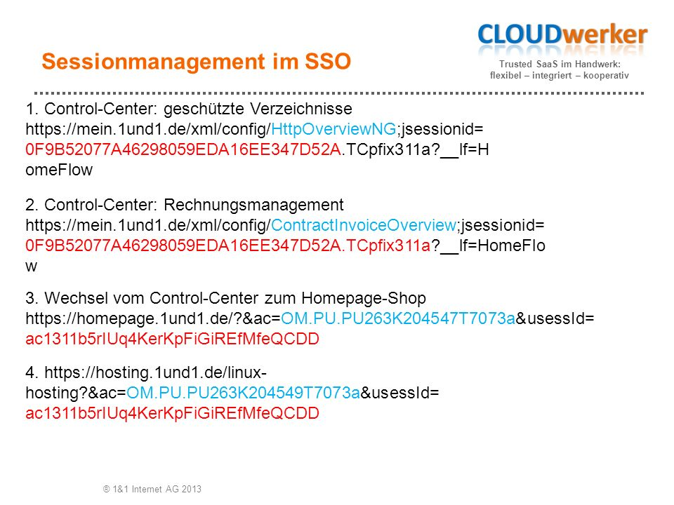Trusted SaaS im Handwerk: flexibel – integriert – kooperativ Sessionmanagement im SSO ® 1&1 Internet AG 2013 1.