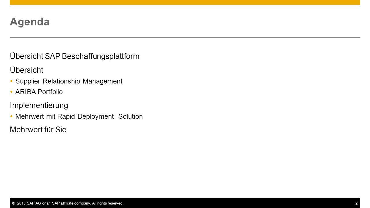 ©2013 SAP AG or an SAP affiliate company. All rights reserved.2 Agenda Übersicht SAP Beschaffungsplattform Übersicht Supplier Relationship Management