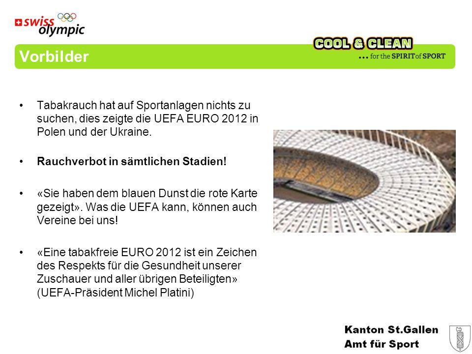 Vorbilder Tabakrauch hat auf Sportanlagen nichts zu suchen, dies zeigte die UEFA EURO 2012 in Polen und der Ukraine.