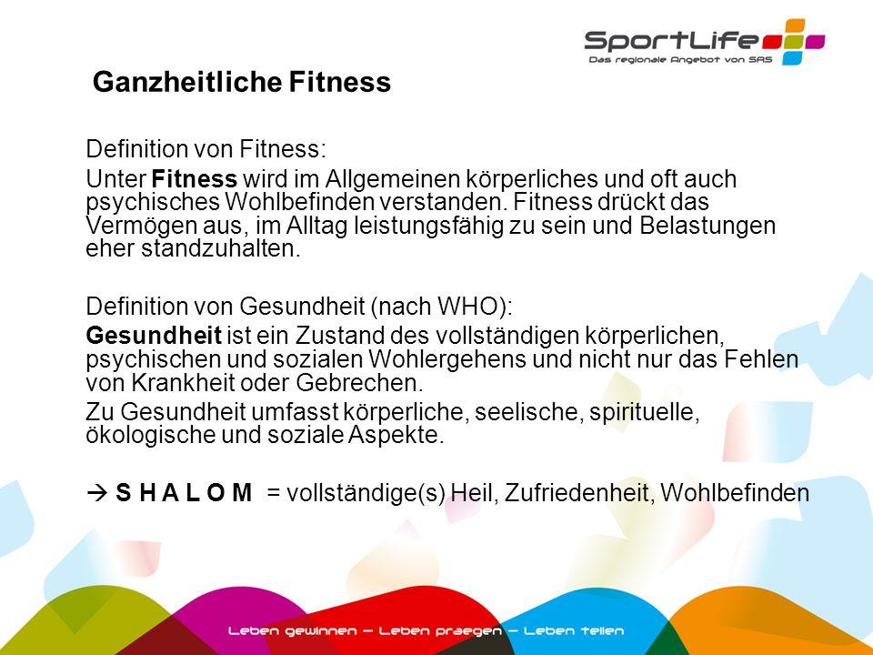 Definition von Fitness: Unter Fitness wird im Allgemeinen körperliches und oft auch psychisches Wohlbefinden verstanden. Fitness drückt das Vermögen a