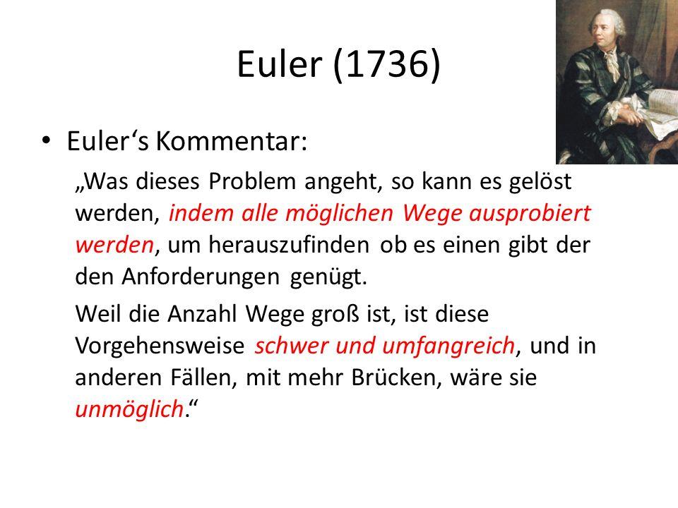 Euler (1736) Eulers Kommentar: Was dieses Problem angeht, so kann es gelöst werden, indem alle möglichen Wege ausprobiert werden, um herauszufinden ob