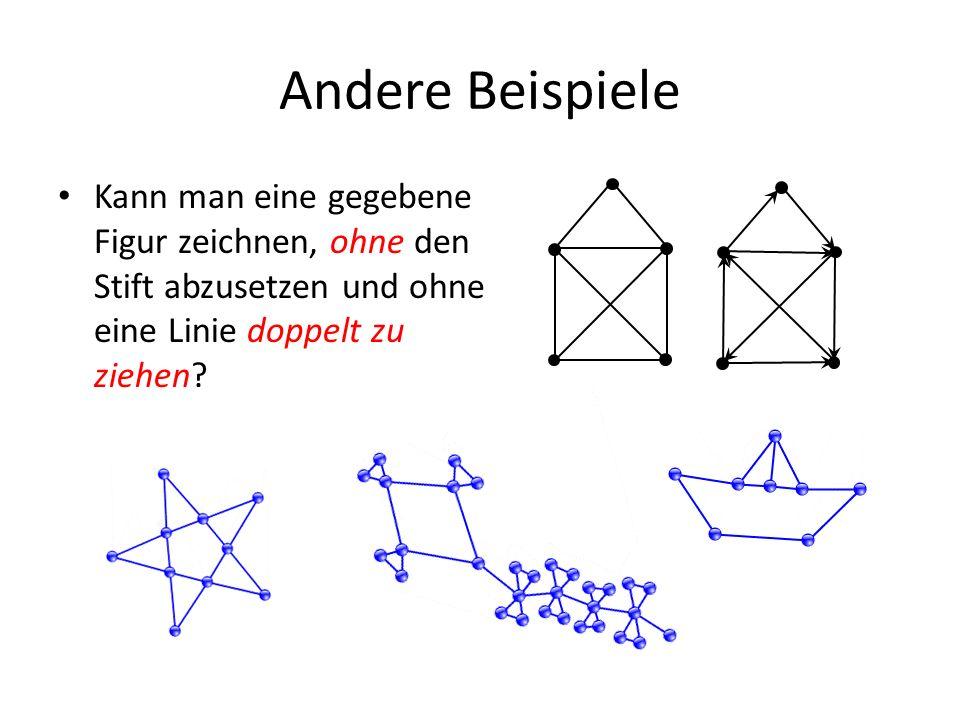 Andere Beispiele Kann man eine gegebene Figur zeichnen, ohne den Stift abzusetzen und ohne eine Linie doppelt zu ziehen?