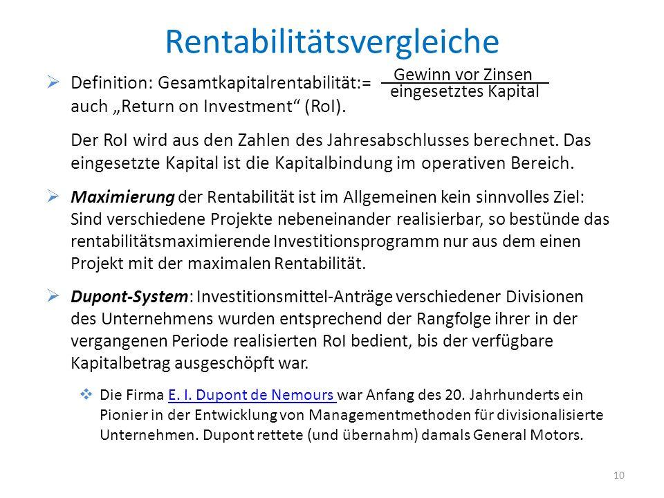 Rentabilitätsvergleiche Definition: Gesamtkapitalrentabilität:= auch Return on Investment (RoI). Der RoI wird aus den Zahlen des Jahresabschlusses ber