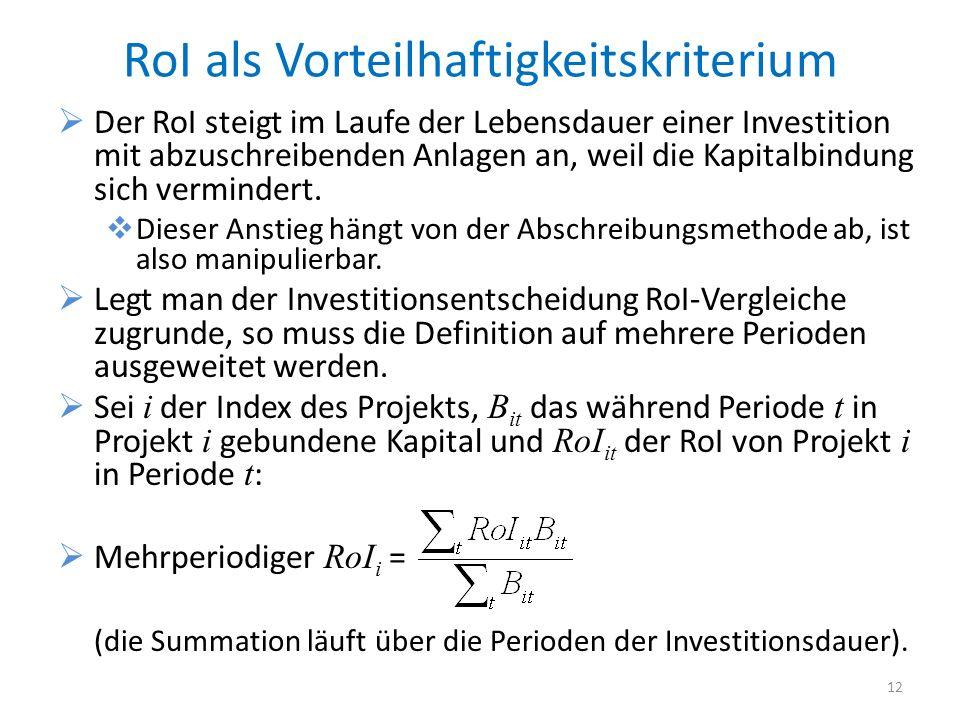RoI als Vorteilhaftigkeitskriterium Der RoI steigt im Laufe der Lebensdauer einer Investition mit abzuschreibenden Anlagen an, weil die Kapitalbindung