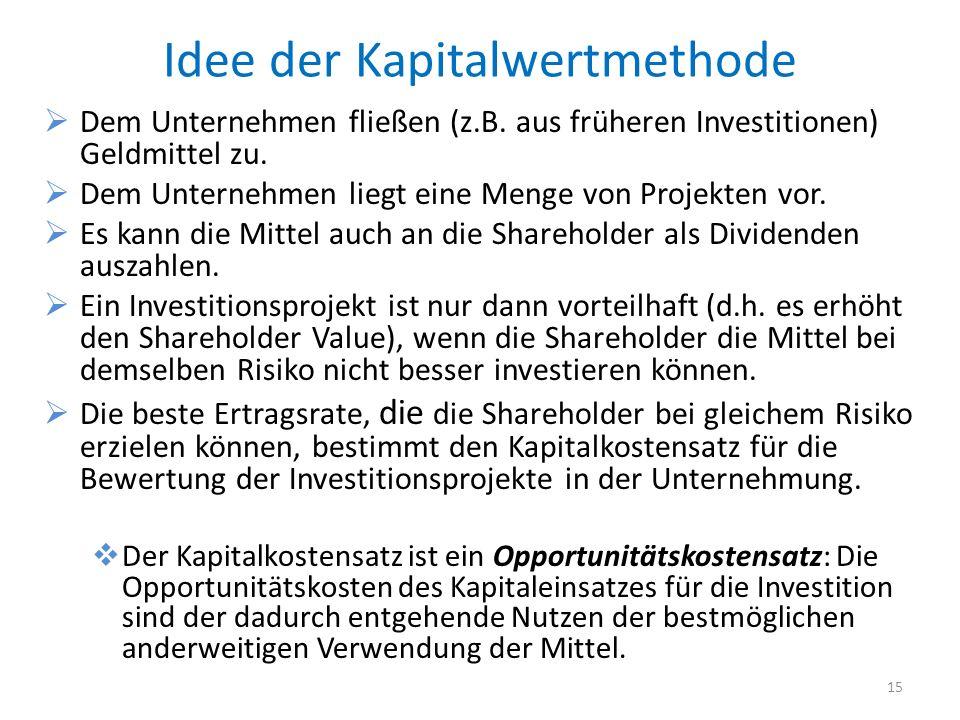 Idee der Kapitalwertmethode Dem Unternehmen fließen (z.B. aus früheren Investitionen) Geldmittel zu. Dem Unternehmen liegt eine Menge von Projekten vo