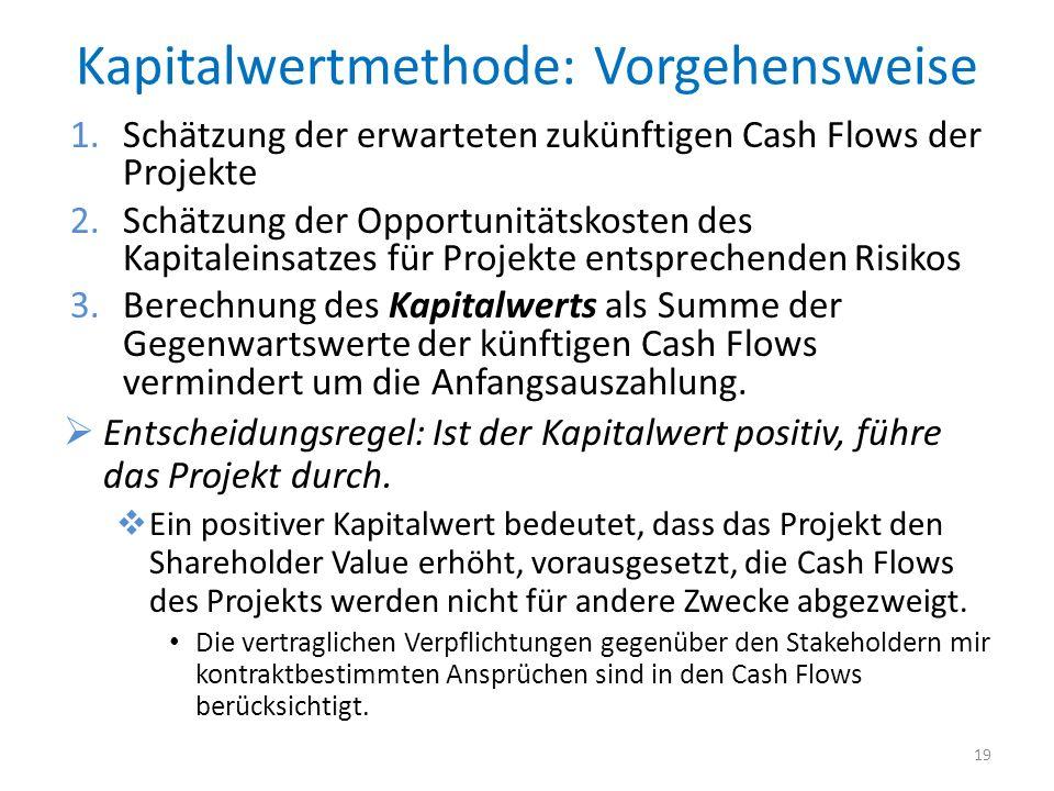 Kapitalwertmethode: Vorgehensweise 1.Schätzung der erwarteten zukünftigen Cash Flows der Projekte 2.Schätzung der Opportunitätskosten des Kapitaleinsa