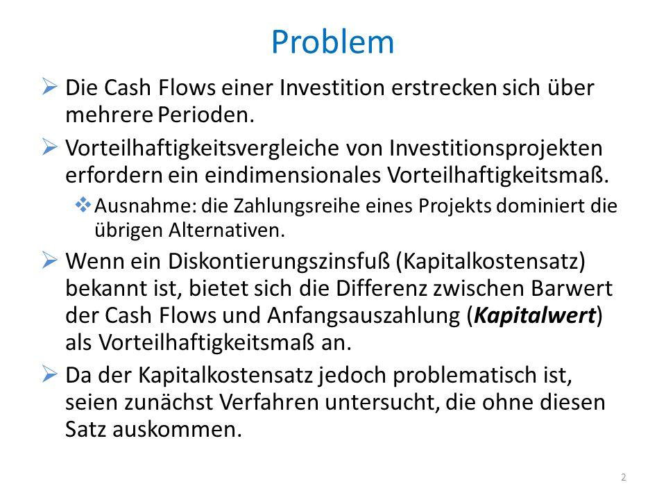 Problem Die Cash Flows einer Investition erstrecken sich über mehrere Perioden. Vorteilhaftigkeitsvergleiche von Investitionsprojekten erfordern ein e