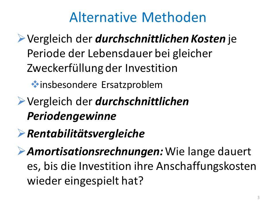 Alternative Methoden Vergleich der durchschnittlichen Kosten je Periode der Lebensdauer bei gleicher Zweckerfüllung der Investition insbesondere Ersat