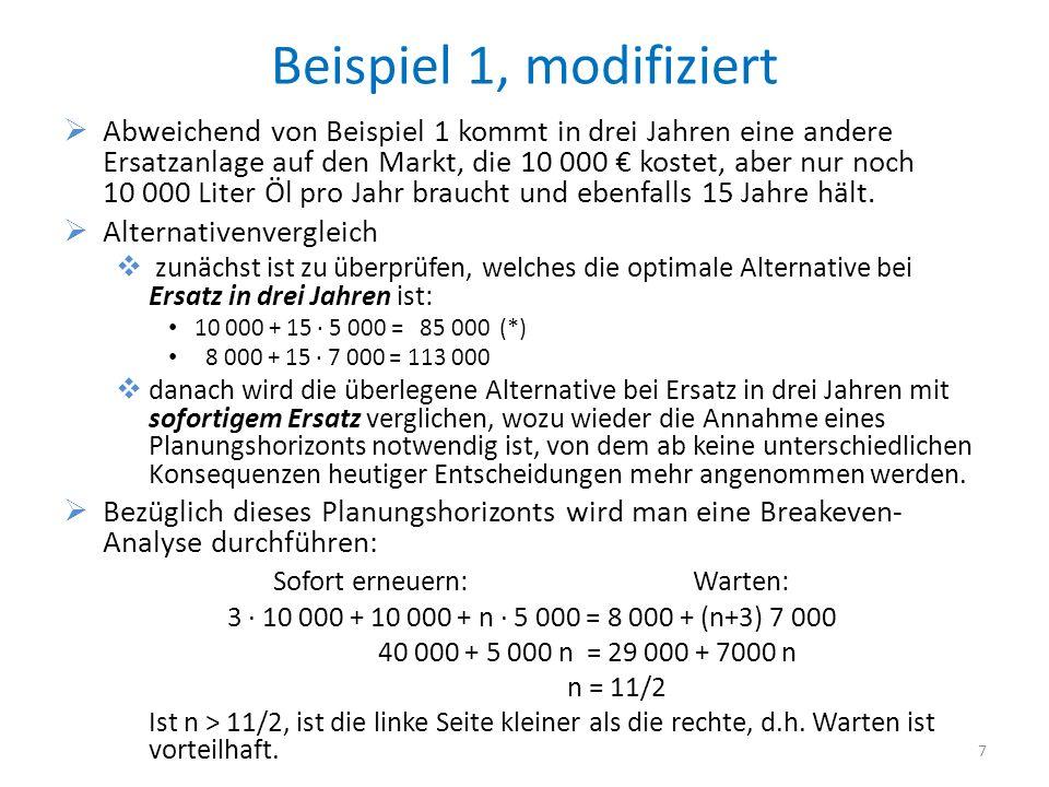 Beispiel 1, modifiziert Abweichend von Beispiel 1 kommt in drei Jahren eine andere Ersatzanlage auf den Markt, die 10 000 kostet, aber nur noch 10 000