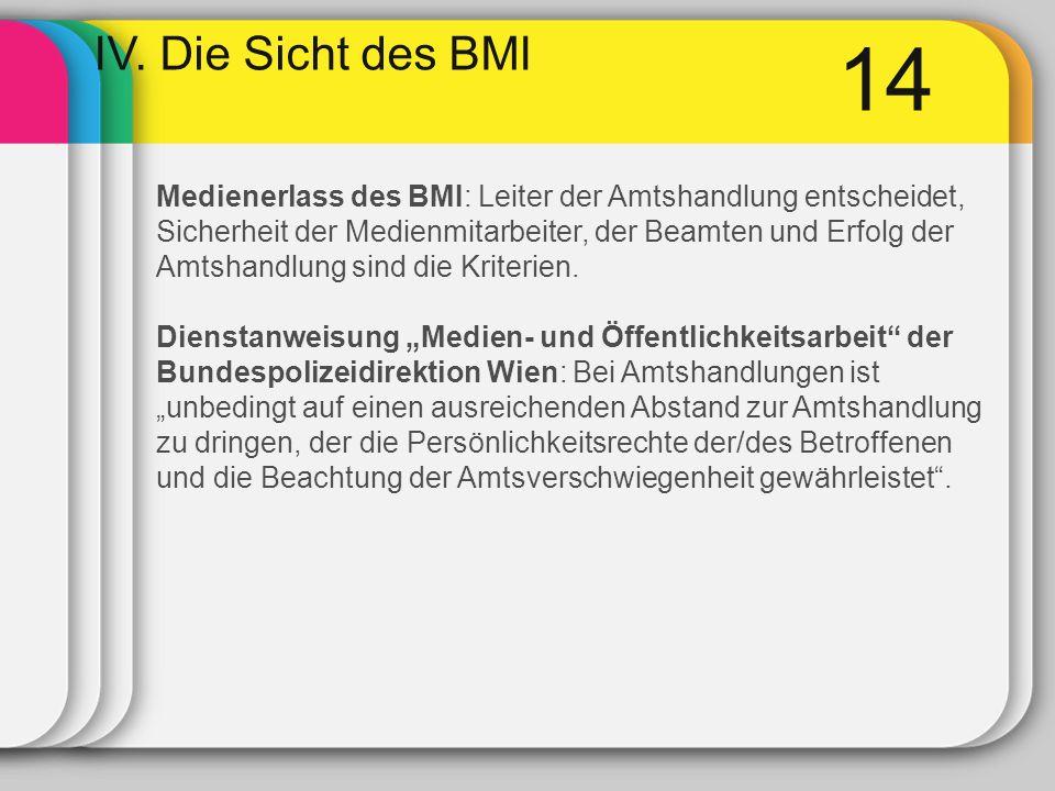 14 IV. Die Sicht des BMI Medienerlass des BMI: Leiter der Amtshandlung entscheidet, Sicherheit der Medienmitarbeiter, der Beamten und Erfolg der Amtsh