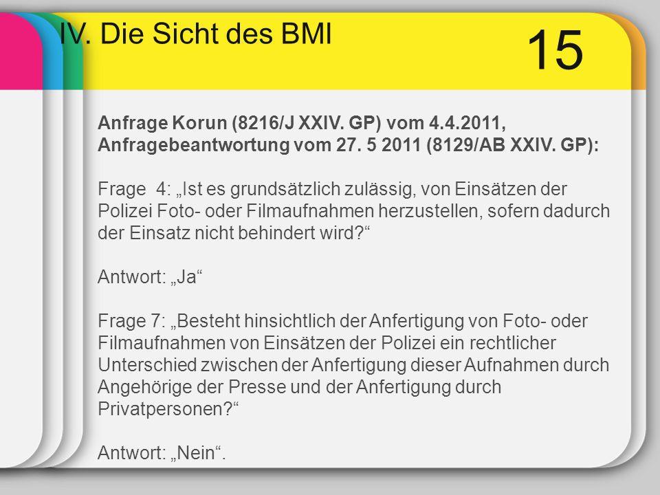 15 IV. Die Sicht des BMI Anfrage Korun (8216/J XXIV. GP) vom 4.4.2011, Anfragebeantwortung vom 27. 5 2011 (8129/AB XXIV. GP): Frage 4: Ist es grundsät