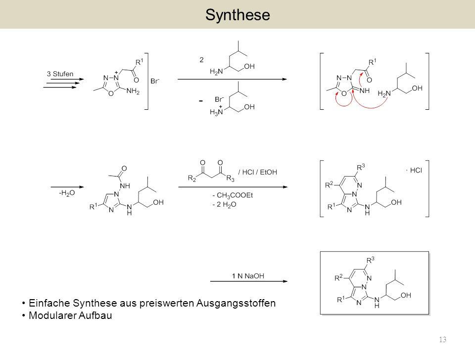 13 Synthese Einfache Synthese aus preiswerten Ausgangsstoffen Modularer Aufbau