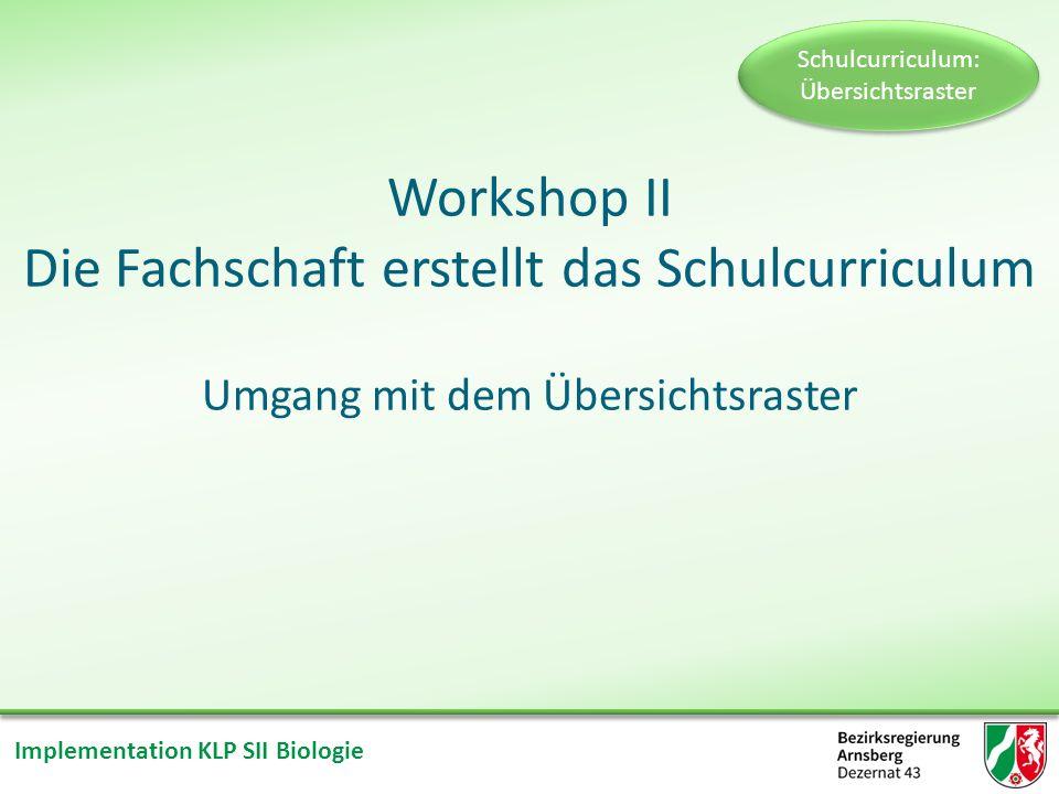 Implementation KLP SII Biologie Gliederung des Workshops II Einführungsvortrag Umgang mit dem Übersichtsraster Arbeit in Gruppen Präsentation Reflexion und Diskussion Schulcurriculum: Übersichtsraster