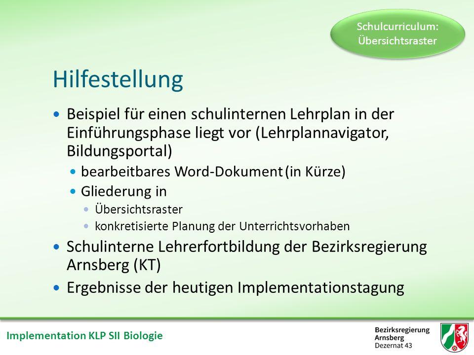 Implementation KLP SII Biologie Inhaltsfeld Schulcurriculum: Übersichtsraster Unterrichtsvorhaben I Unterrichtsvorhaben II Unterrichtsvorhaben III Inhaltlicher Schwerpunkt laut KLP
