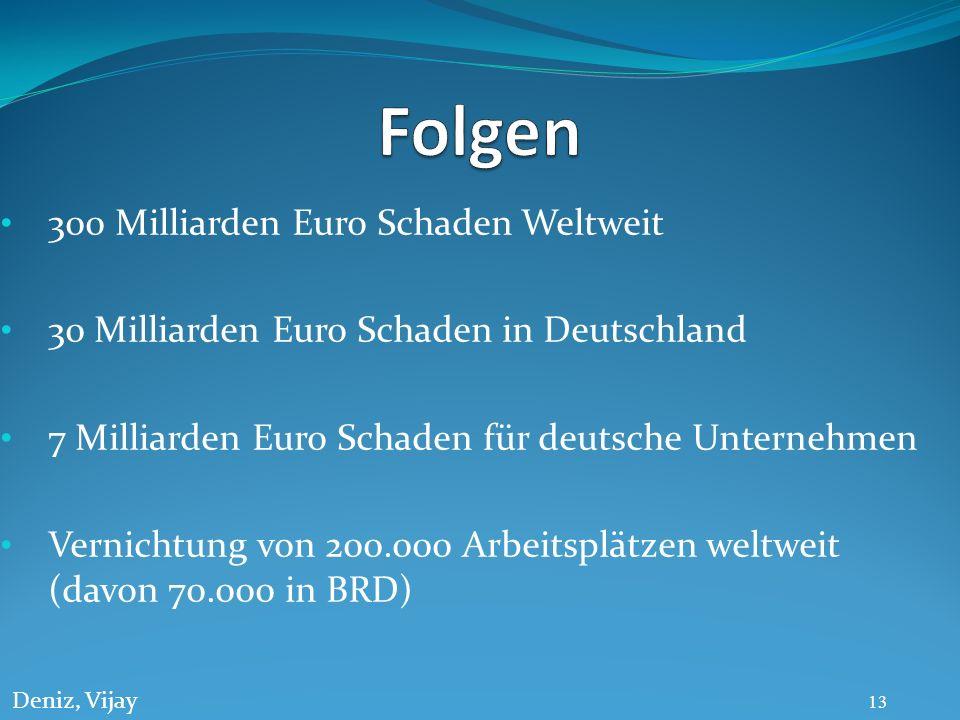 300 Milliarden Euro Schaden Weltweit 30 Milliarden Euro Schaden in Deutschland 7 Milliarden Euro Schaden für deutsche Unternehmen Vernichtung von 200.