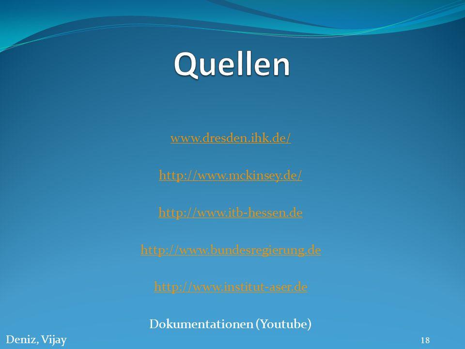 www.dresden.ihk.de/ http://www.mckinsey.de/ http://www.itb-hessen.de http://www.bundesregierung.de http://www.institut-aser.de Dokumentationen (Youtub