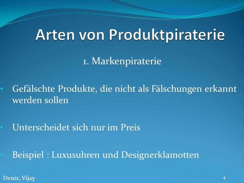 1. Markenpiraterie Gefälschte Produkte, die nicht als Fälschungen erkannt werden sollen Unterscheidet sich nur im Preis Beispiel : Luxusuhren und Desi