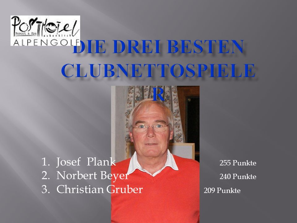 1.Josef Plank 255 Punkte 2.Norbert Beyer 240 Punkte 3.Christian Gruber 209 Punkte