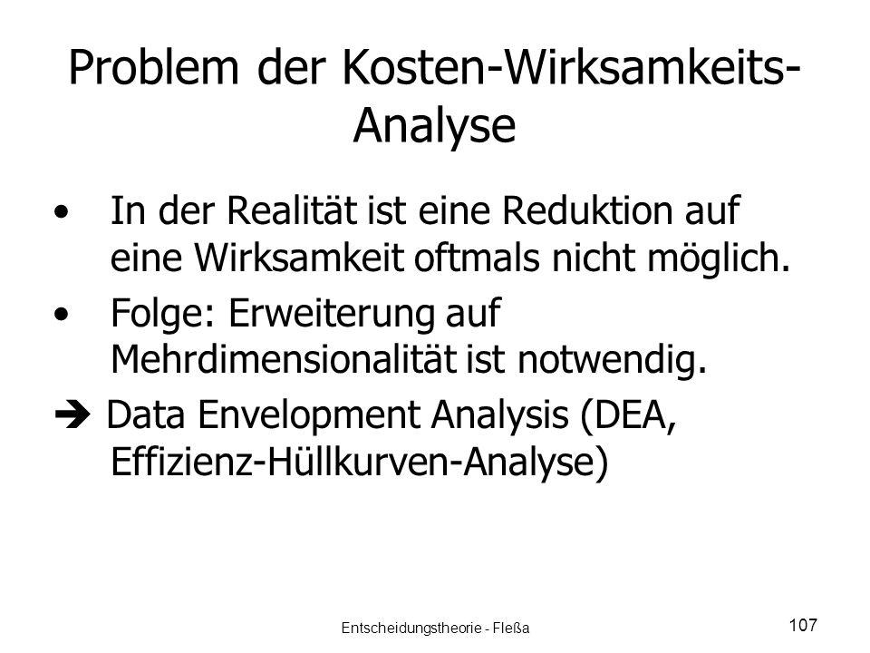 Problem der Kosten-Wirksamkeits- Analyse In der Realität ist eine Reduktion auf eine Wirksamkeit oftmals nicht möglich. Folge: Erweiterung auf Mehrdim