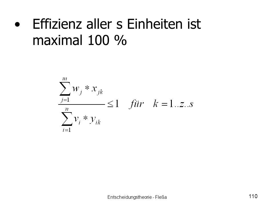 Effizienz aller s Einheiten ist maximal 100 % 110 Entscheidungstheorie - Fleßa