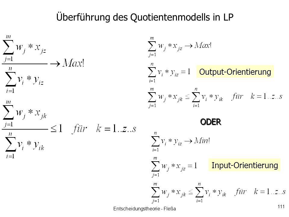 Überführung des Quotientenmodells in LP ODER Output-Orientierung Input-Orientierung Entscheidungstheorie - Fleßa 111