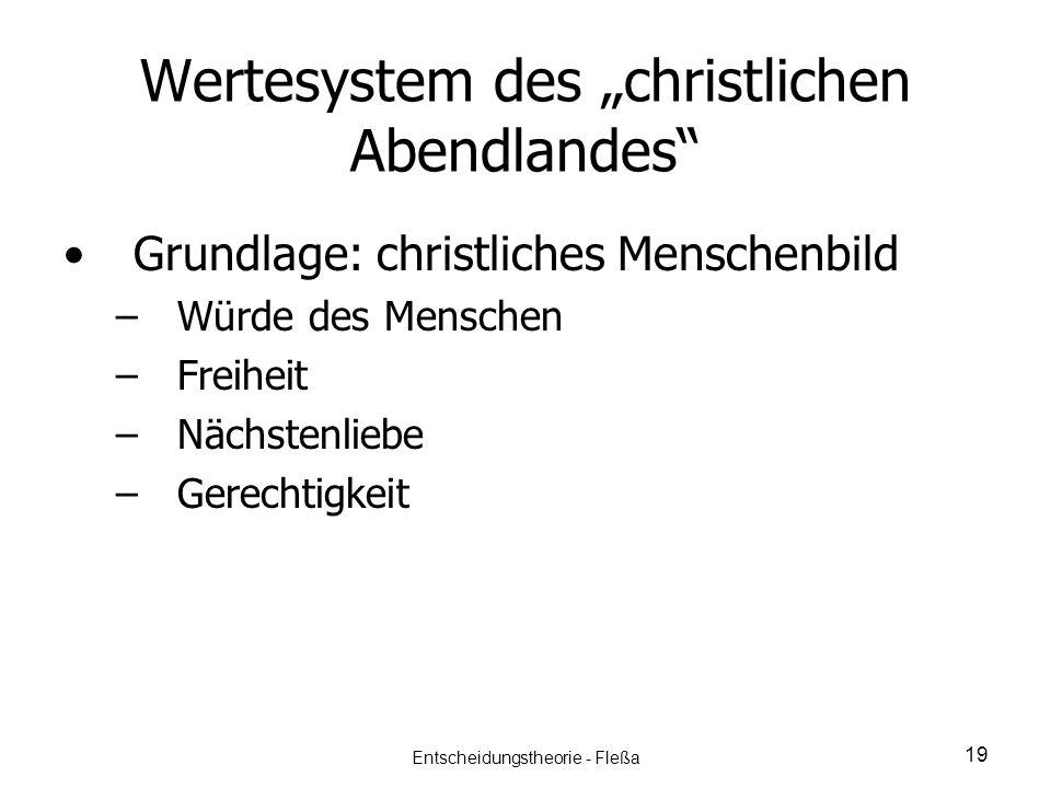 Wertesystem des christlichen Abendlandes Grundlage: christliches Menschenbild – –Würde des Menschen – –Freiheit – –Nächstenliebe – –Gerechtigkeit 19 E