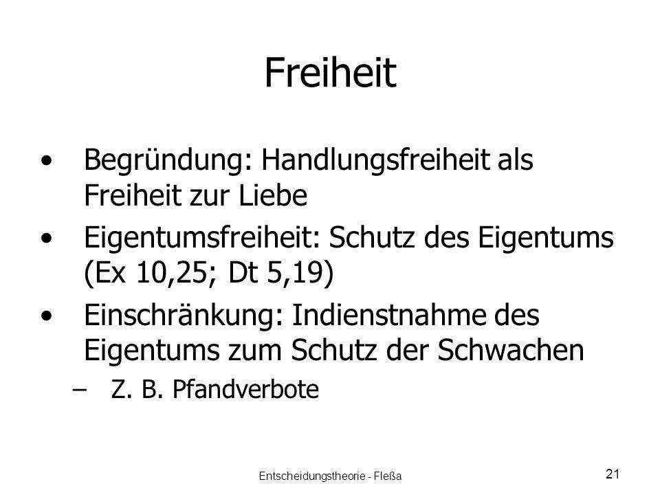 Freiheit Begründung: Handlungsfreiheit als Freiheit zur Liebe Eigentumsfreiheit: Schutz des Eigentums (Ex 10,25; Dt 5,19) Einschränkung: Indienstnahme