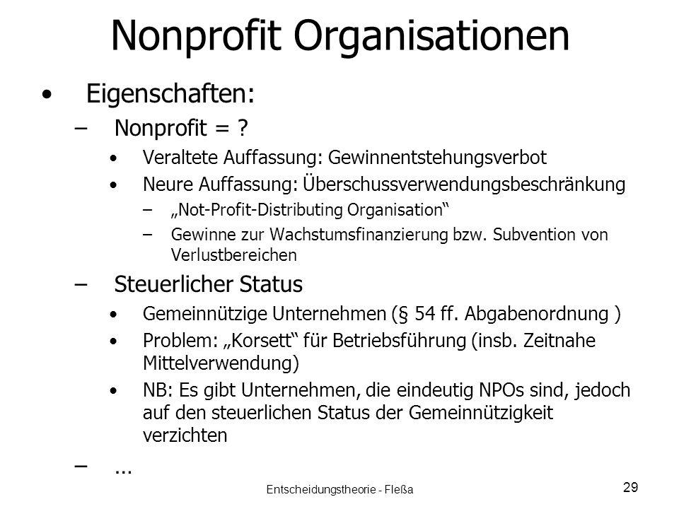 Nonprofit Organisationen Eigenschaften: – –Nonprofit = ? Veraltete Auffassung: Gewinnentstehungsverbot Neure Auffassung: Überschussverwendungsbeschrän