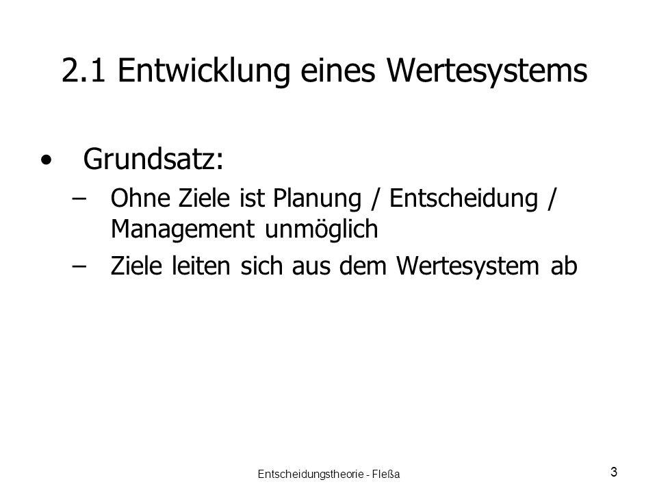 2.1 Entwicklung eines Wertesystems Grundsatz: – –Ohne Ziele ist Planung / Entscheidung / Management unmöglich – –Ziele leiten sich aus dem Wertesystem