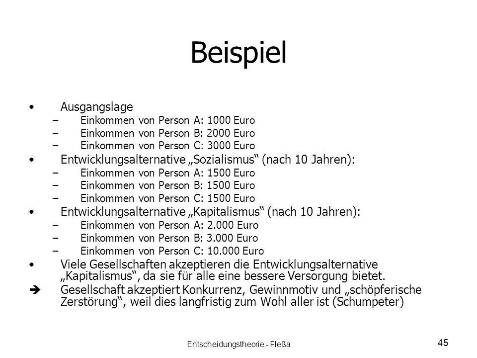 Beispiel Ausgangslage – –Einkommen von Person A: 1000 Euro – –Einkommen von Person B: 2000 Euro – –Einkommen von Person C: 3000 Euro Entwicklungsalter
