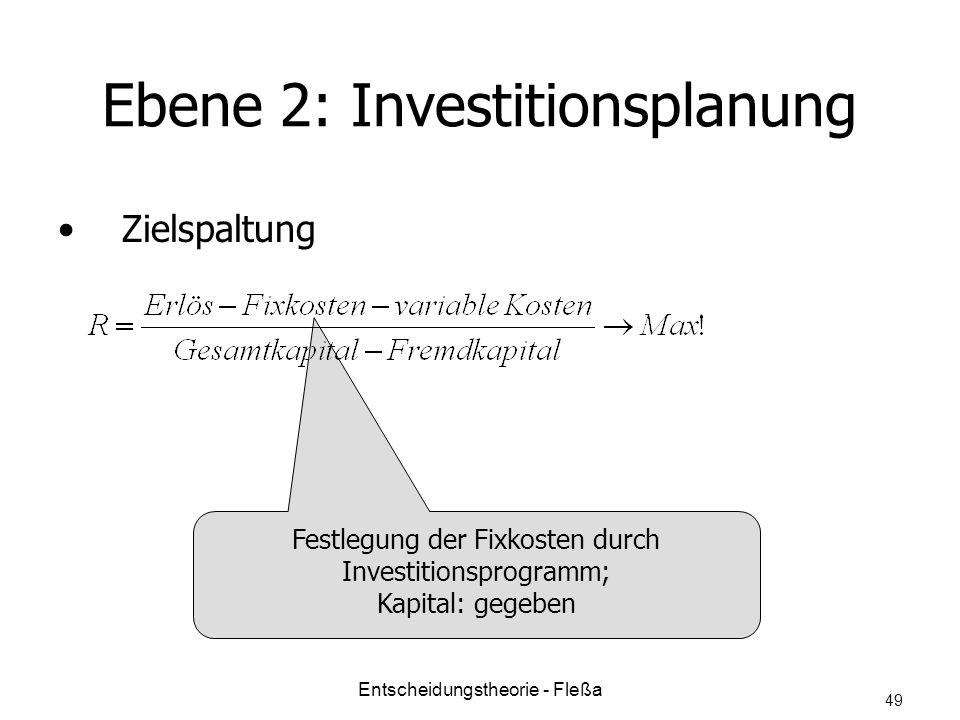 Ebene 2: Investitionsplanung Zielspaltung Festlegung der Fixkosten durch Investitionsprogramm; Kapital: gegeben Entscheidungstheorie - Fleßa 49