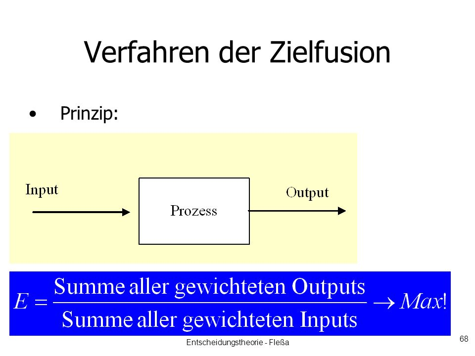Verfahren der Zielfusion Prinzip: Entscheidungstheorie - Fleßa 68