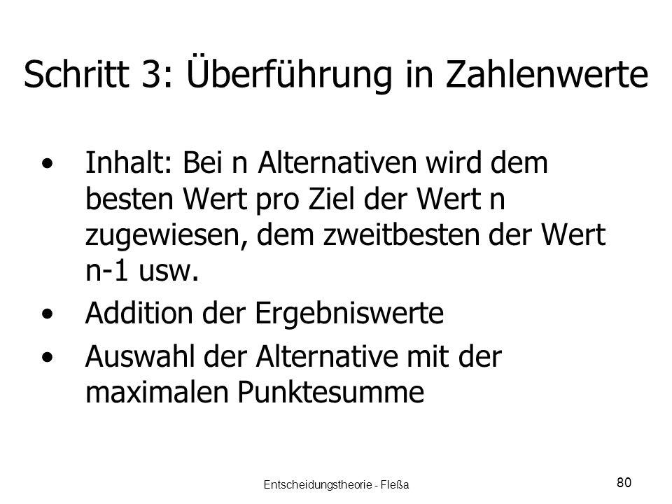 Schritt 3: Überführung in Zahlenwerte Inhalt: Bei n Alternativen wird dem besten Wert pro Ziel der Wert n zugewiesen, dem zweitbesten der Wert n-1 usw