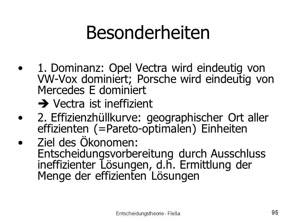 Besonderheiten 1. Dominanz: Opel Vectra wird eindeutig von VW-Vox dominiert; Porsche wird eindeutig von Mercedes E dominiert Vectra ist ineffizient 2.