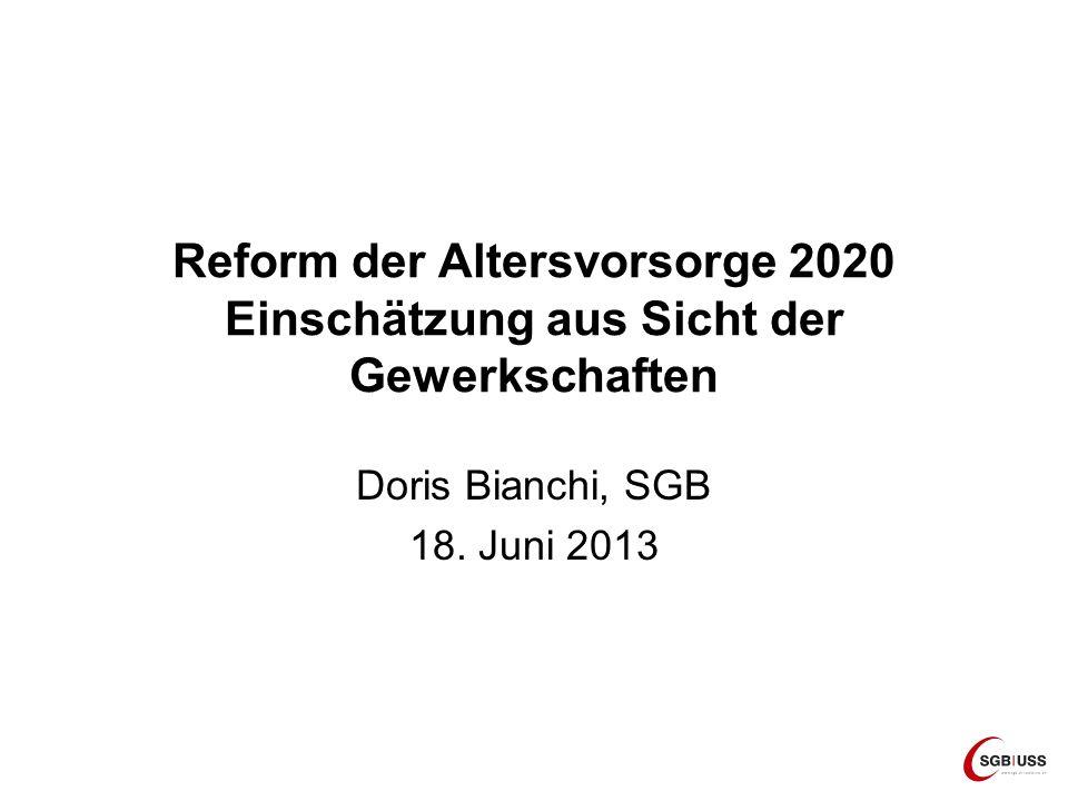 Reform der Altersvorsorge 2020 Einschätzung aus Sicht der Gewerkschaften Doris Bianchi, SGB 18. Juni 2013