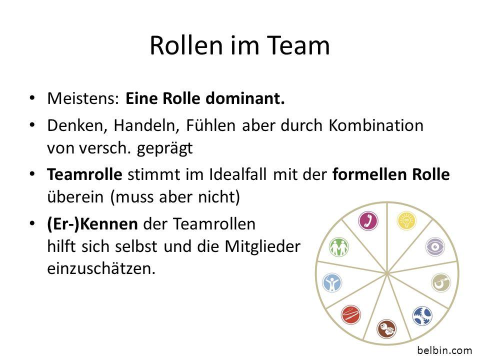 Rollen im Team Meistens: Eine Rolle dominant. Denken, Handeln, Fühlen aber durch Kombination von versch. geprägt Teamrolle stimmt im Idealfall mit der