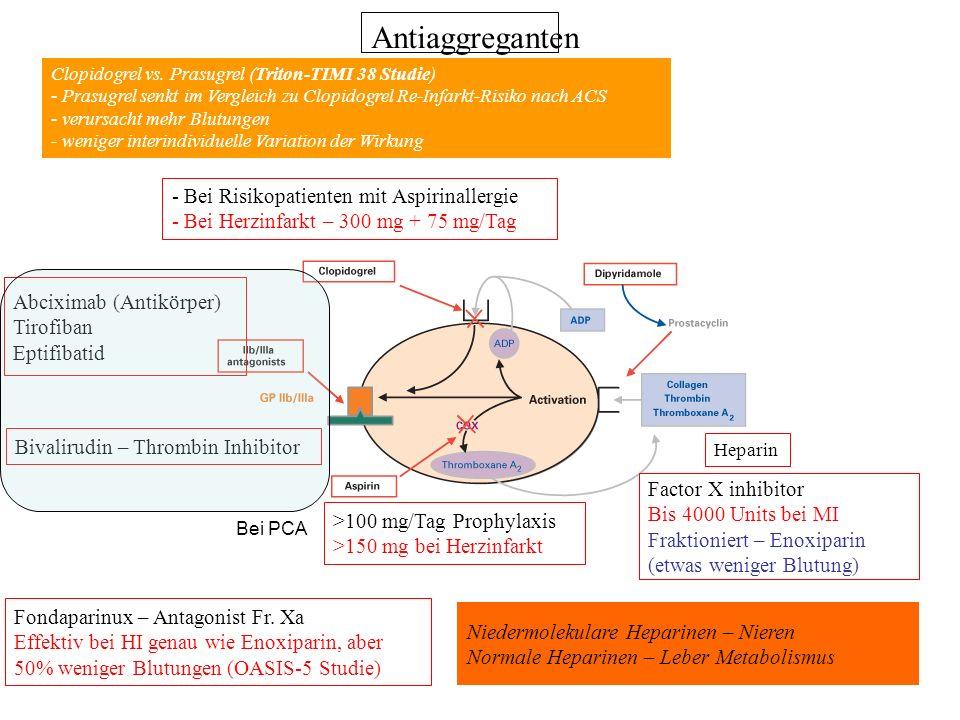 Antiaggreganten >100 mg/Tag Prophylaxis >150 mg bei Herzinfarkt - Bei Risikopatienten mit Aspirinallergie - Bei Herzinfarkt – 300 mg + 75 mg/Tag Abcix