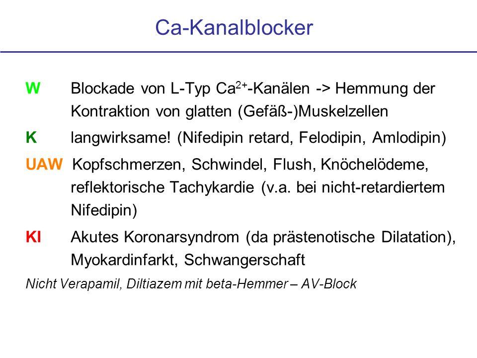 WBlockade von L-Typ Ca 2+ -Kanälen -> Hemmung der Kontraktion von glatten (Gefäß-)Muskelzellen Klangwirksame! (Nifedipin retard, Felodipin, Amlodipin)