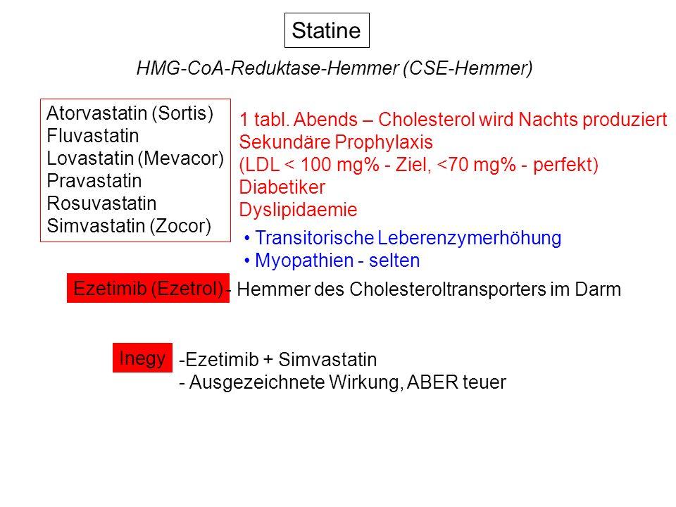 Statine HMG-CoA-Reduktase-Hemmer (CSE-Hemmer) Atorvastatin (Sortis) Fluvastatin Lovastatin (Mevacor) Pravastatin Rosuvastatin Simvastatin (Zocor) Ezet