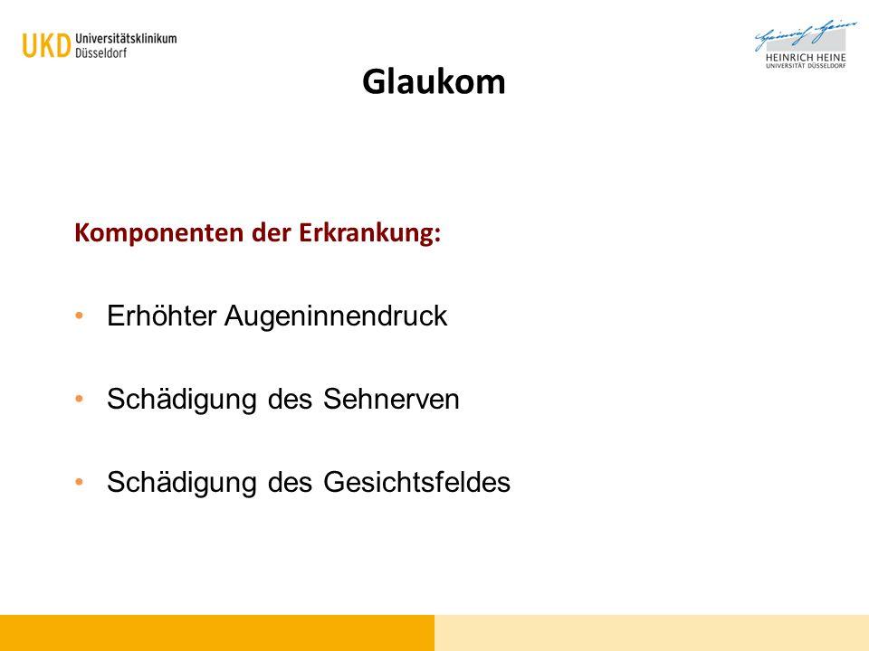 Glaukom-Früherkennung Kenntnisse in der Bevölkerung Begriff Grüner Star (Glaukom)51% Erhöhter Augeninnendruck28% Gesichtsfeldschaden 14%