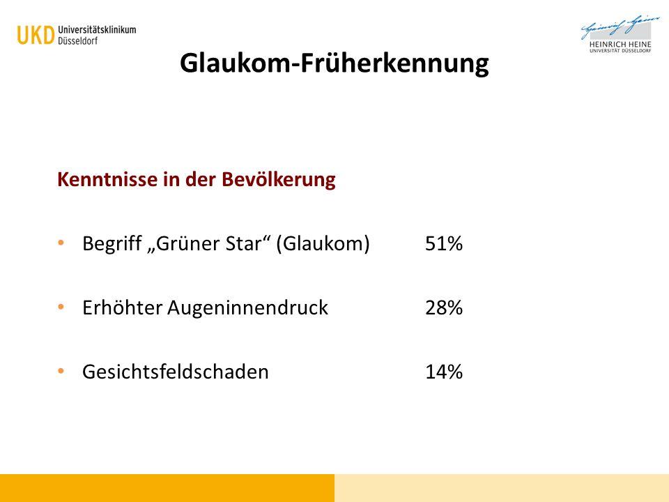 Glaukom-Epidemiologie In Deutschland 50 Millionen älter als 40 Jahre 5 Millionen erhöhter Augeninnendr.