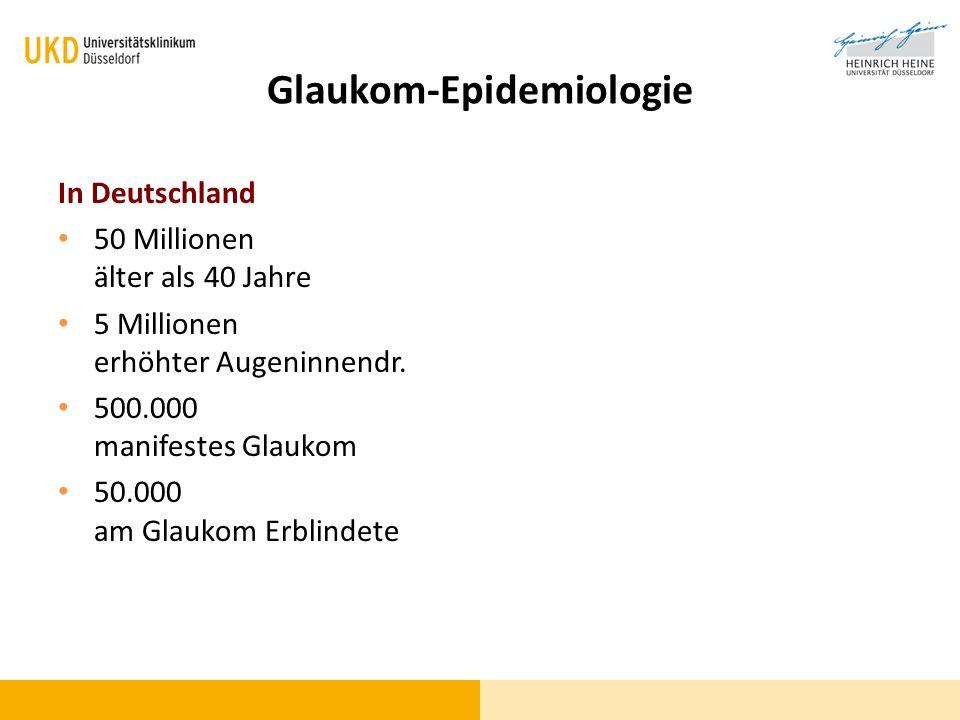 Glaukom - Prävalenz AltersgruppePrävalenzOptikusdefekt 40-54 Jahre0,4 %0,2% 55-74 Jahre2,6%1,3% 75 Jahre7,6%3,8% Häufigste Erblindungsursache