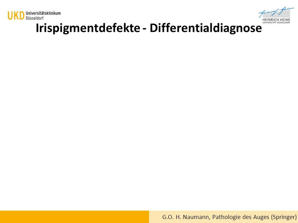 Irispigmentdefekte - Differentialdiagnose G.O. H. Naumann, Pathologie des Auges (Springer)