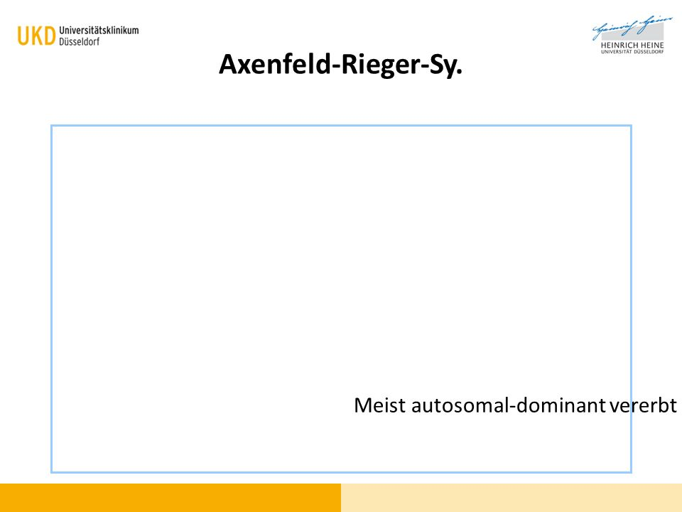 Axenfeld-Rieger-Sy. Meist autosomal-dominant vererbt