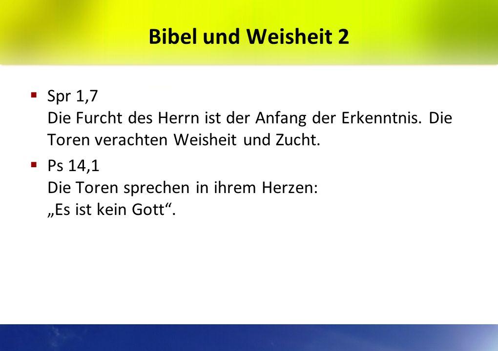 Bibel und Weisheit 1 Sprüche: Das sind die Sprüche Salomons, des Sohnes Davids, des Königs von Israel, um zu lernen Weisheit und Zucht.