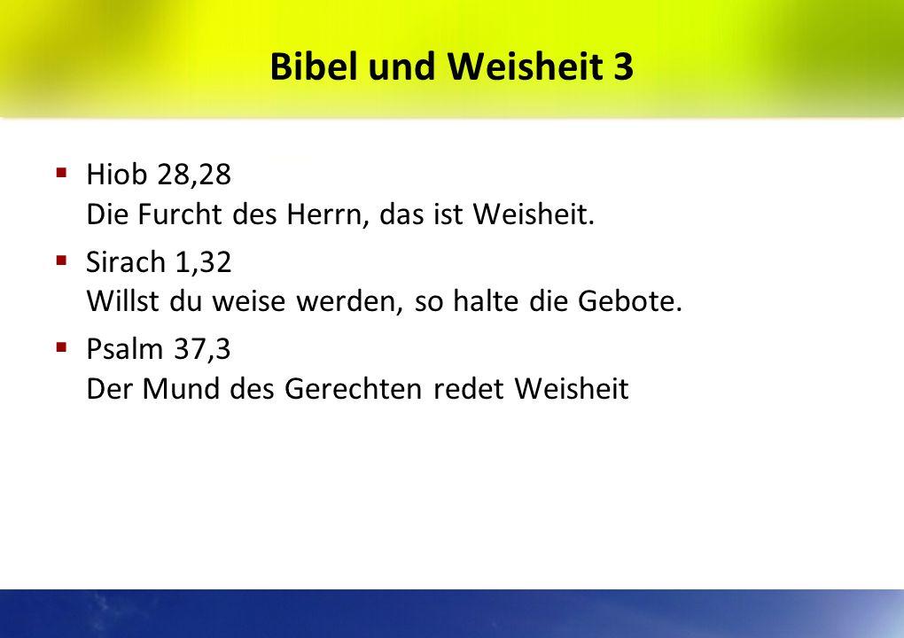 Bibel und Weisheit 2 Spr 1,7 Die Furcht des Herrn ist der Anfang der Erkenntnis. Die Toren verachten Weisheit und Zucht. Ps 14,1 Die Toren sprechen in