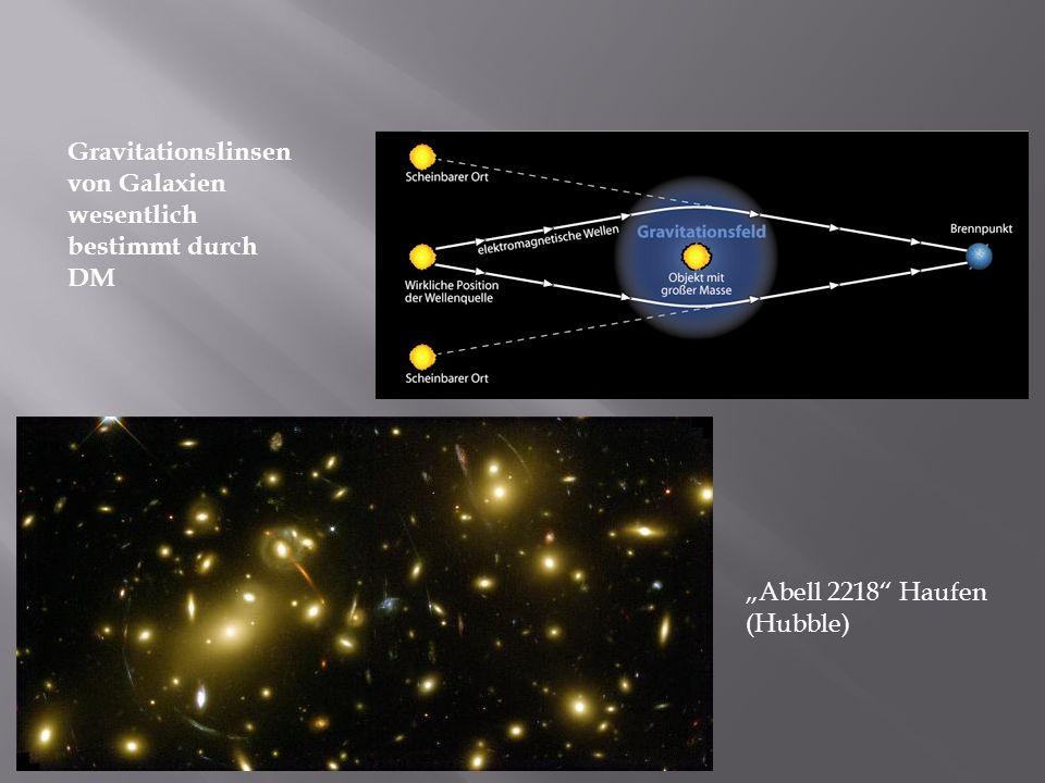 Gravitationslinsen von Galaxien wesentlich bestimmt durch DM Abell 2218 Haufen (Hubble)