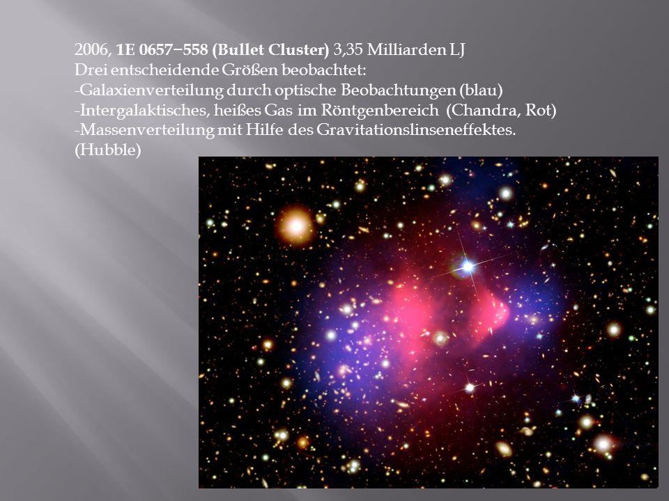 2006, 1E 0657558 (Bullet Cluster) 3,35 Milliarden LJ Drei entscheidende Größen beobachtet: -Galaxienverteilung durch optische Beobachtungen (blau) -In